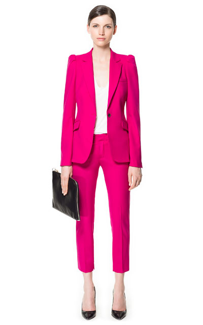 Zara Shocking Pink Suit