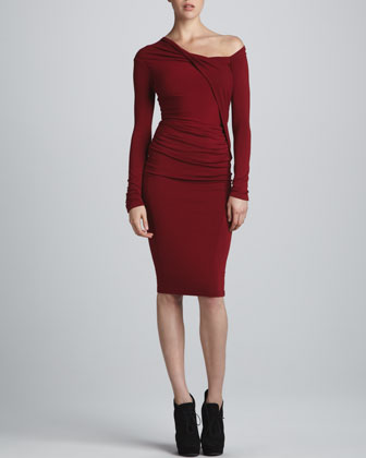 Donna Karen Red Dress, #donna Karen, #Donna Karen Draped One Shoulder Dress, #dress, dress, Red, #red