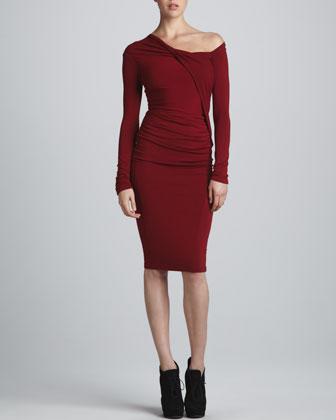 Donna Karen Red Dress, #donna Karen, #Donna Karen Draped One Shoulder Dress, #dress, dress, Red, #red